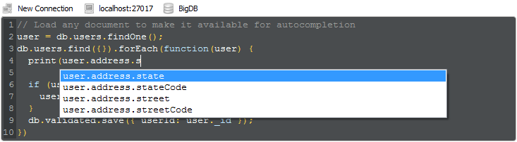Robo 3T provides real query auto-completion